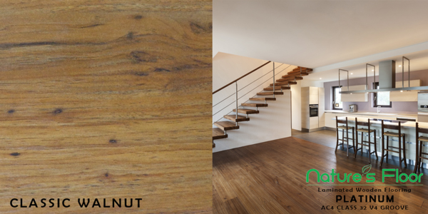 Classic Walnut sample for laminated wood flooring in Pretoria
